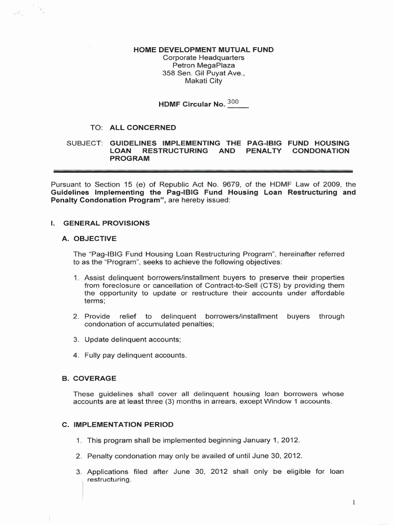 Circular no 300 guidelines implementing the pag ibig fund housing 300 guidelines implementing the pag ibig fund housing loan restructuring and penalty condonation program loans foreclosure spiritdancerdesigns Image collections