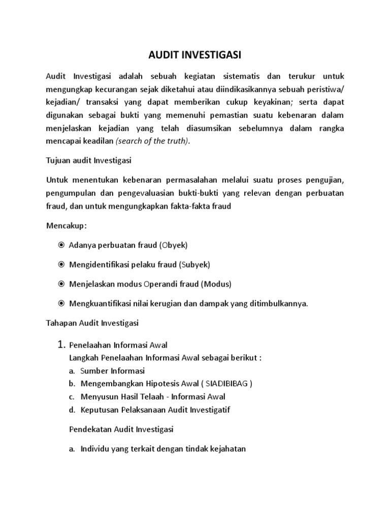 Audit Investigasi Resume
