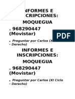Informes e Inscripciones
