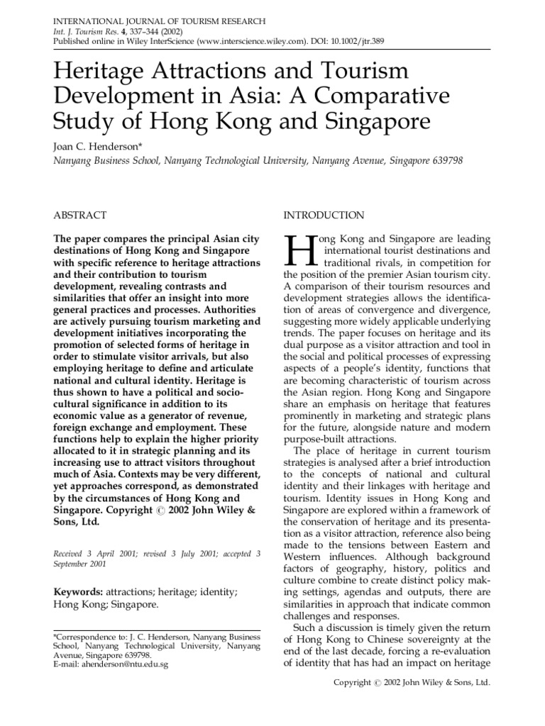 Henderson-2002-International Journal of Tourism Research | Cultural Heritage | Hong Kong