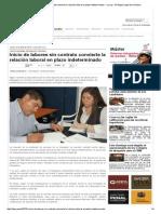 Inicio de Labores Sin Contrato Convierte La Relación Laboral en Plazo Indeterminado — La Ley - El Ángulo Legal de La Noticia