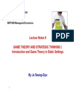 BSP1005 Lecture Notes 9 - Game Theory I - Strategic Thinking in Static Games
