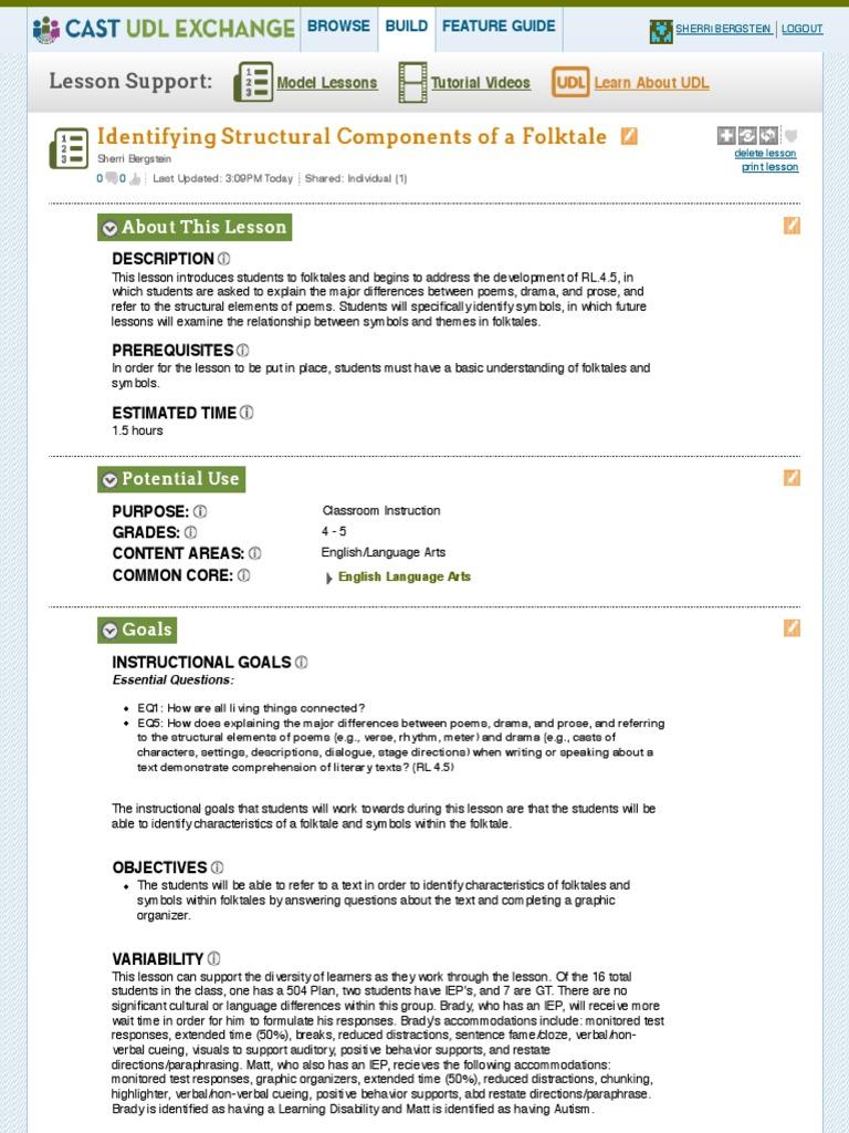 Udl Exchange Lesson 1 Educational Assessment Folklore