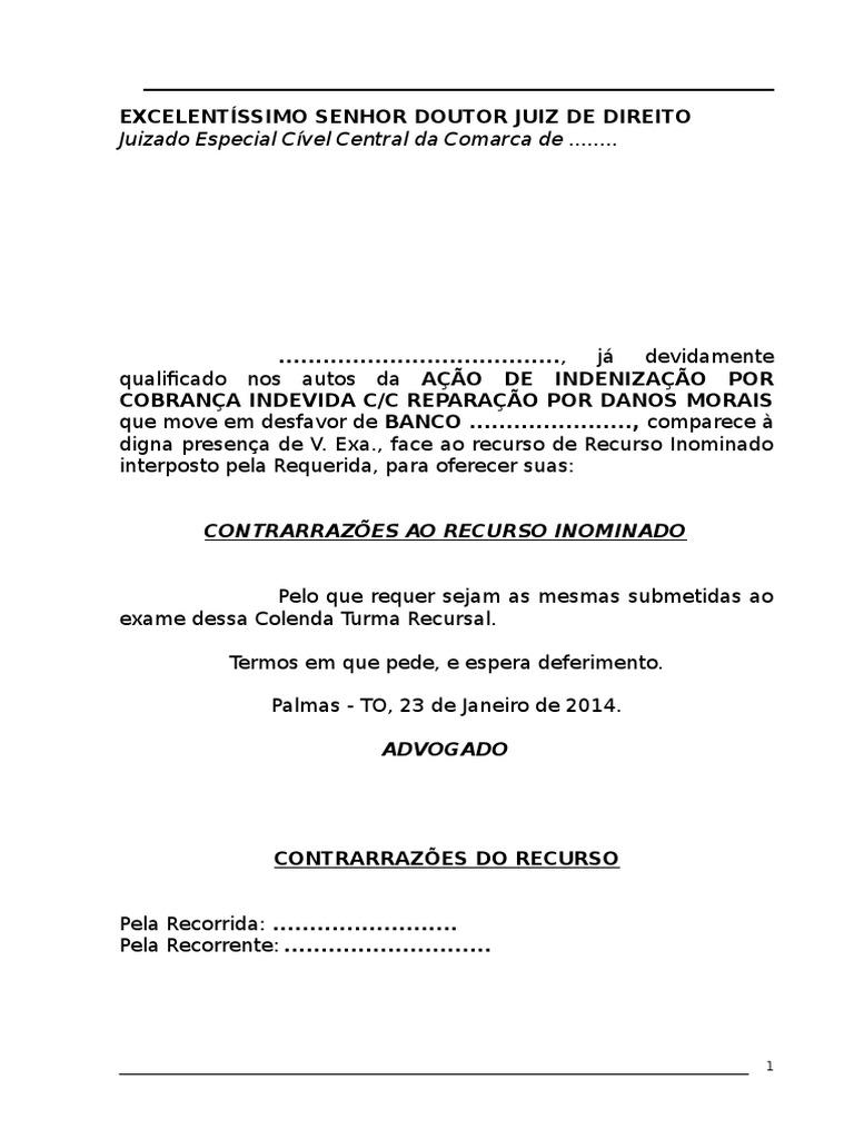 Contrarrazão De Recurso Inominadodoc Sentence Law Justice