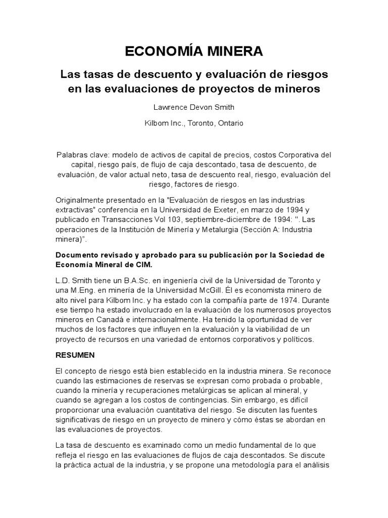 modelo de riesgo proyectos mineros
