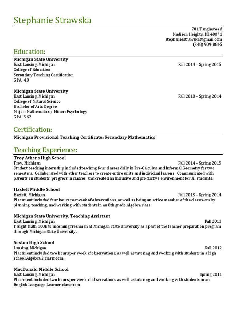 Resume For Online Grading Education Teachers