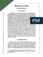 Response to Critics - Jeremy Waldron