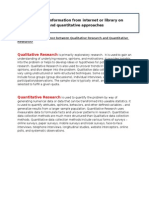 Search for Information From Internet or Library on Qualitataive and Quantitative Approaches