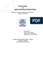 A Project Report on the Investment Preference in Mutual Funds Without Page No.