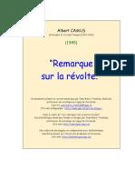 RCamus, Emarque Sur La Revolte