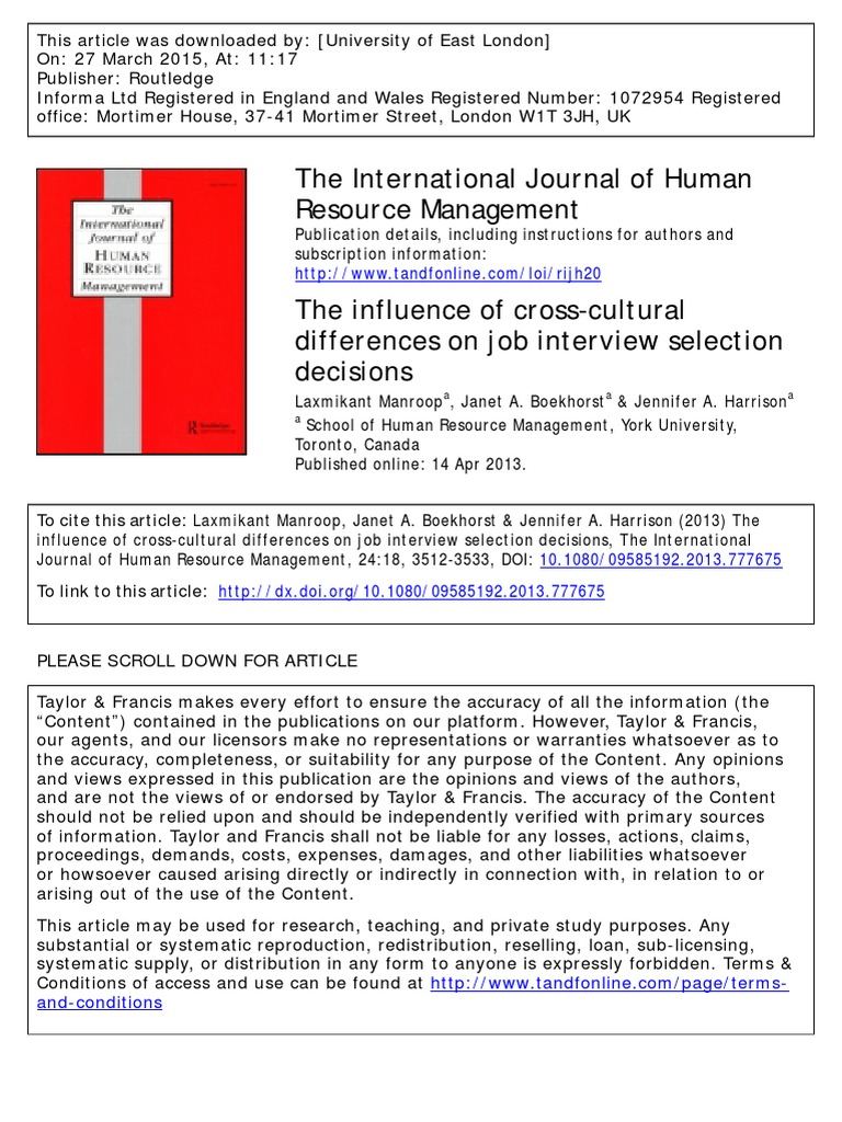 the influence of cross cultural differences on job interview selection decisions manroom l et al 2015 nonverbal communication job interview - International Job Interviewing What Are The Cultural Differences