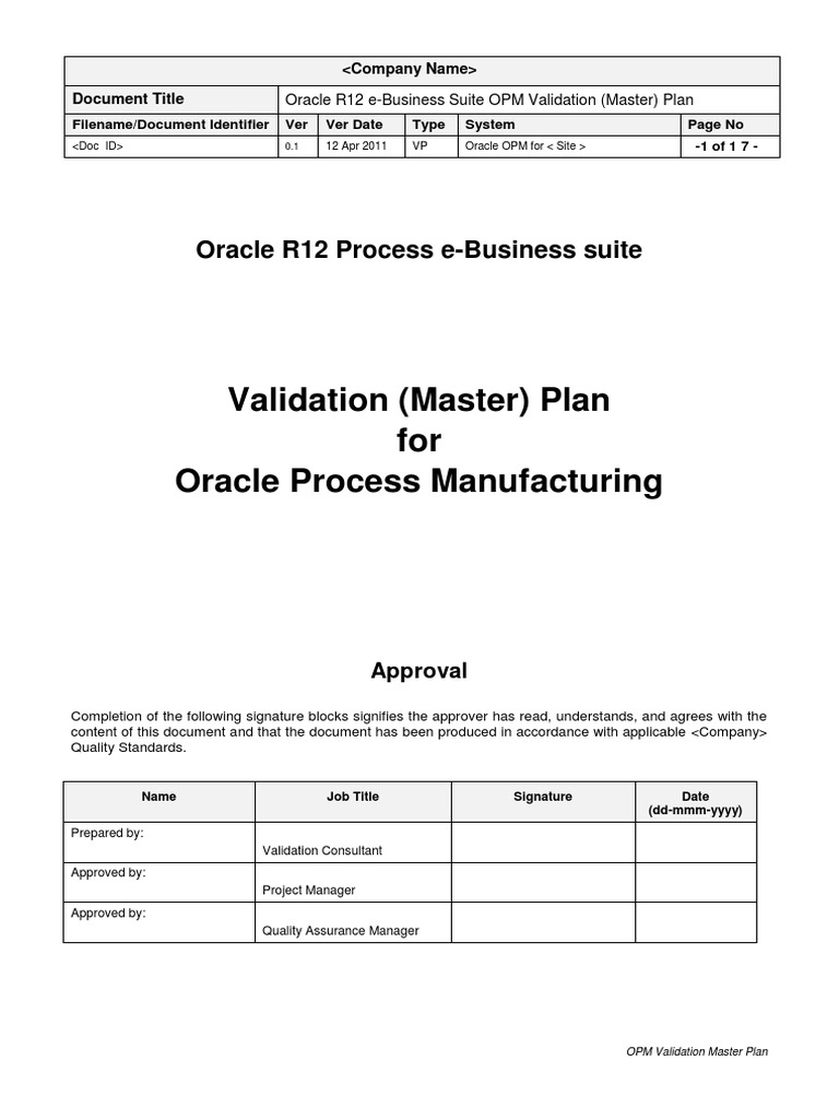 Oracle r12 Opm Vmp 0 1 | Verification And Validation