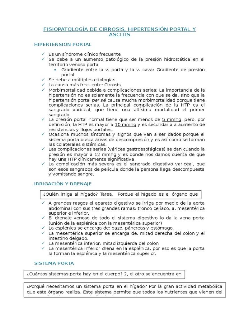Colaterales hipertensión portal fisiopatología