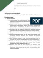 Spesifikasi Teknis Embung Sarikandi