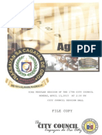 Agenda of the 83rd Regular Session of the 17th City Council of Cagayan de Oro