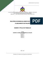 Modelo Relatório 1 Planejamento de Projeto