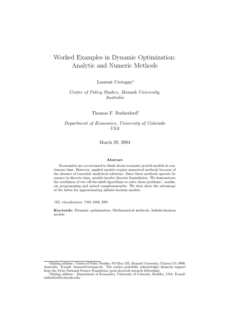 Worked Examples in Dynamic Optimization Analytic and Numeric Methods |  Calculus Of Variations | Mathematical Optimization