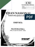 Naskah Soal UN Matematika SMP (Paket C32)