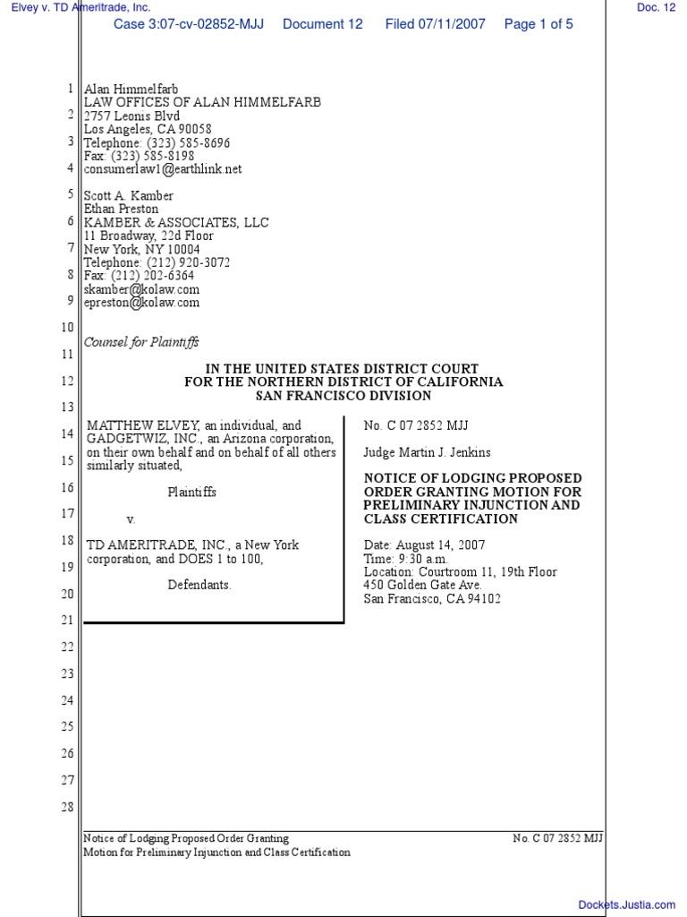 Elvey v  TD Ameritrade, Inc  - Document No  12 | Credit