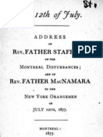 The 12th of July - Address of Rev. Father Stafford on the Montreal Disturbances (1877)
