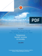Policy Brief - Development of Four Decade Long Climate Scenario and Trend Temperature, Rainfall, Sunshine and Humidity - 2014