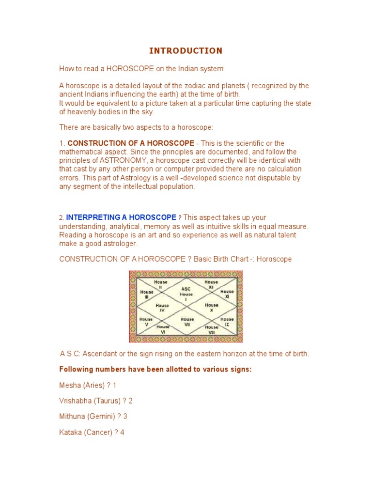 Interpreting A Horoscope Following numbers have been allotted to ...
