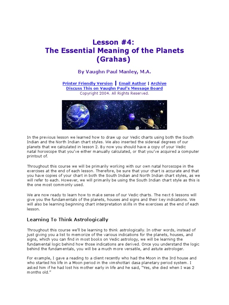 Lesson On Astrology Planets Planets In Astrology Astrological Sign