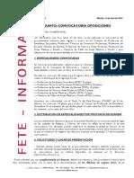 Resumen de FETE-UGT Sobre La Convocatoria de Oposiciones Docentes 2015