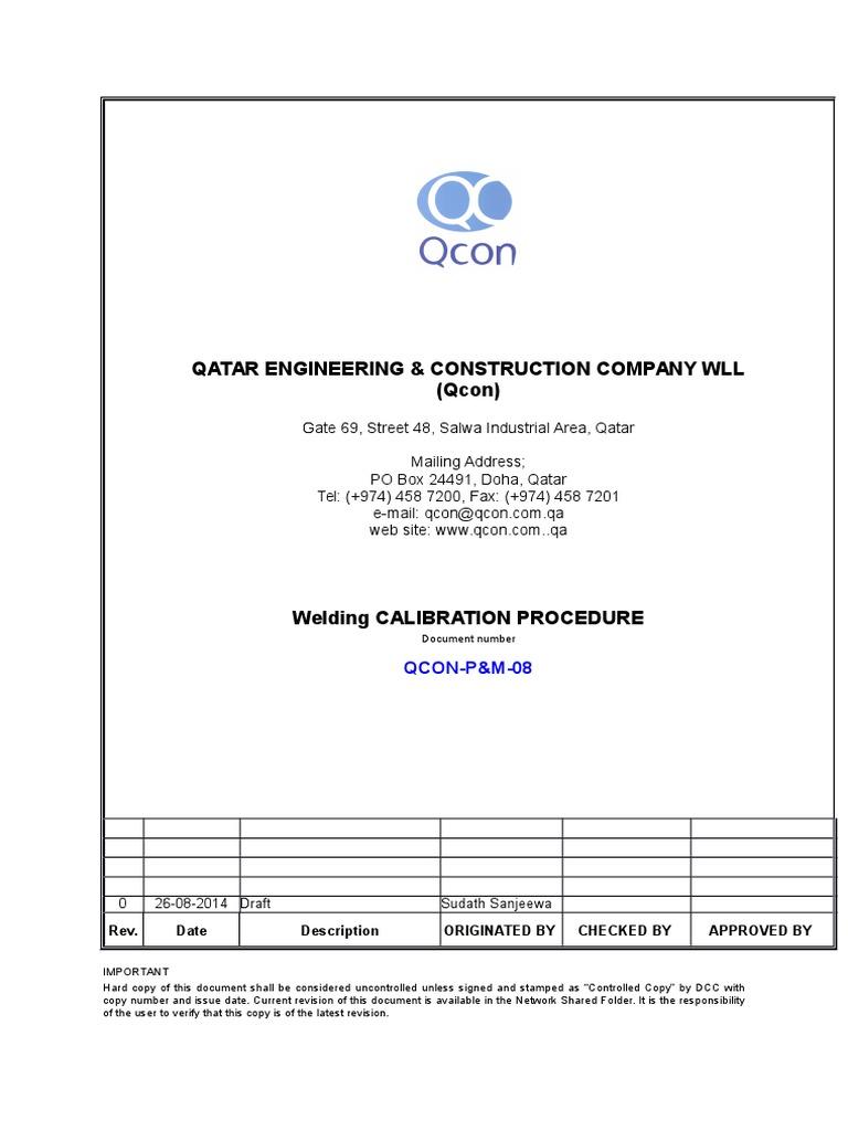 Welding Machine Calibration Procedure | Calibration | Welding