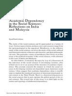 Academic Dependency in the Social Sciences