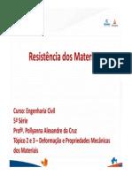 Resistência dos Materiais I - Tópico 2 - Tensão e Deformação - Carregamento Axial.pdf