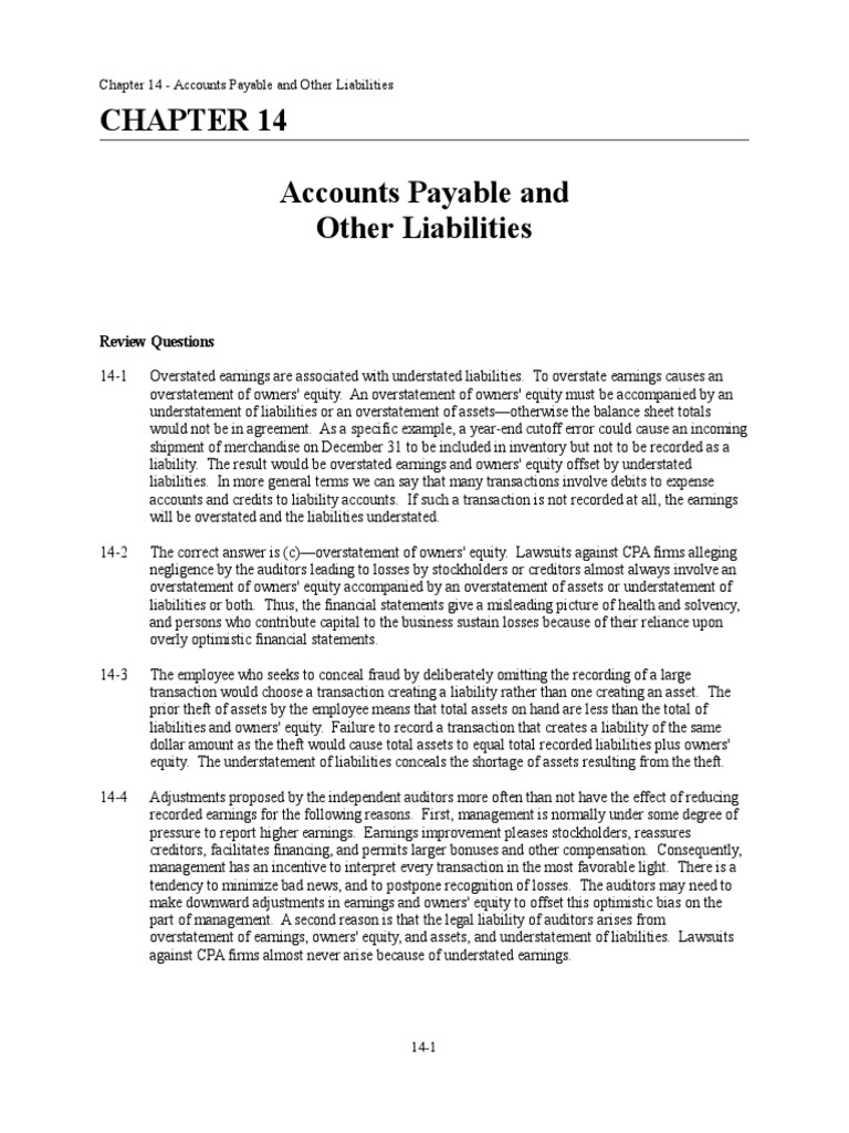 Chapter 14 - Solution Manual | Accounts Payable | Audit