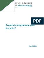 Projet de réforme des programmes scolaires du CP au CE2 (cycle 2)