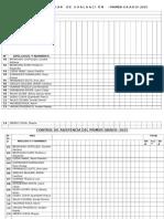 REGISTRO AUX D EVAlUACIÓN Y ASISTENCIA 2015-1°