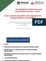 Los Pilares Básicos Para Un Arreglo Institucional Para El Transporte Público Integrado