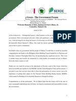 Welcome Remarks - BG-Govt Forum 2010 - Binay - 2010