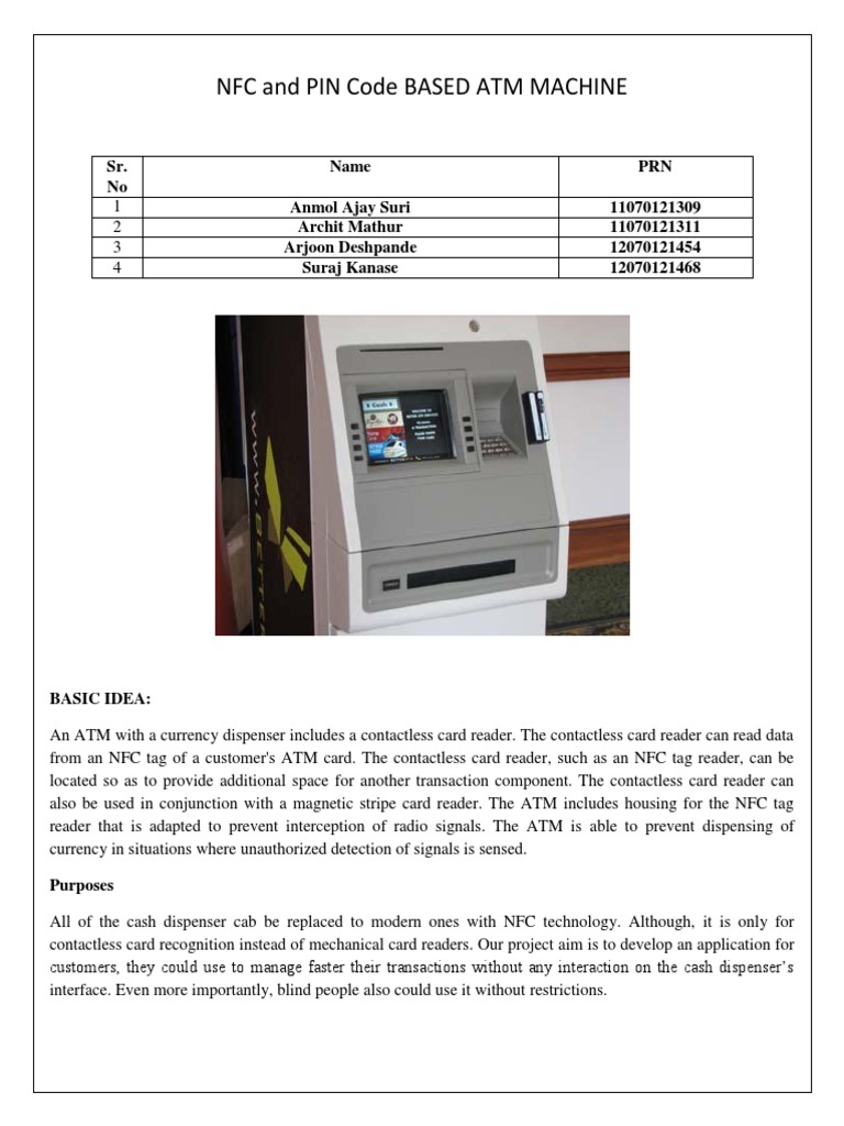 NFC and PIN Code Based ATM Machine | Near Field