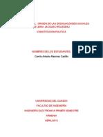 ENSAYO SOBRE EL ORIGEN DE LAS DESIGUALDADES SOCIALES DE JEAN- JACQUES ROUSSEAU