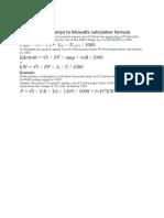 AC Three Phase Amps to Kilowatts Calculation Formula