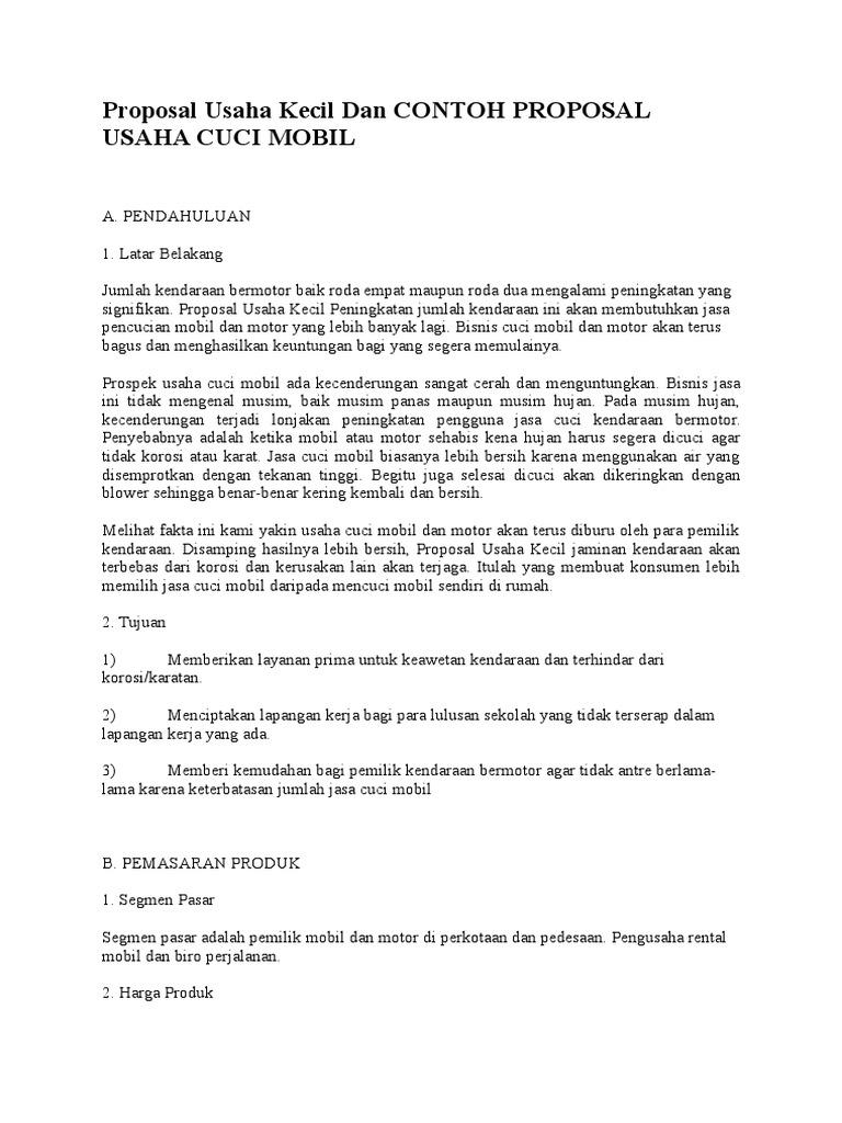 Proposal Usaha Kecil Dan CONTOH PROPOSAL USAHA CUCI MOBIL.doc