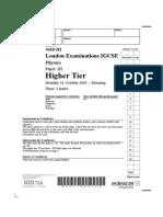 IGCSE Physics Paper 2H Nov 2005