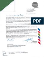 Lettre d'Antoine Audi à Pierre Camou