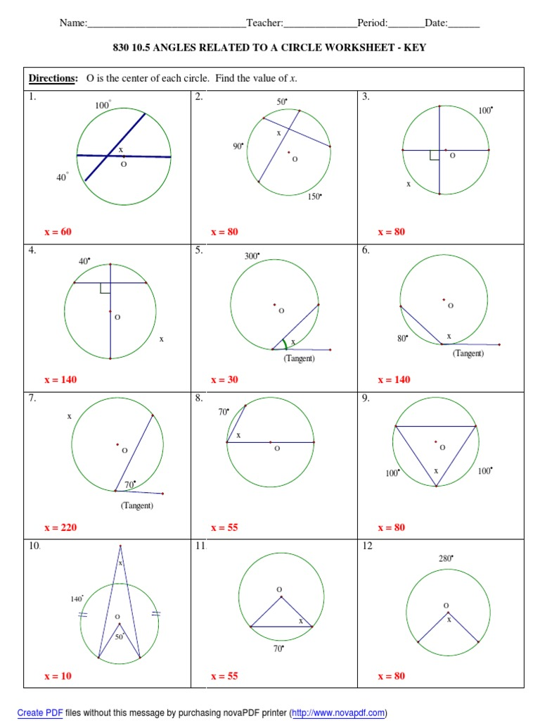 23 23.23 Worksheet Answers  PDF Inside Angles In A Circle Worksheet