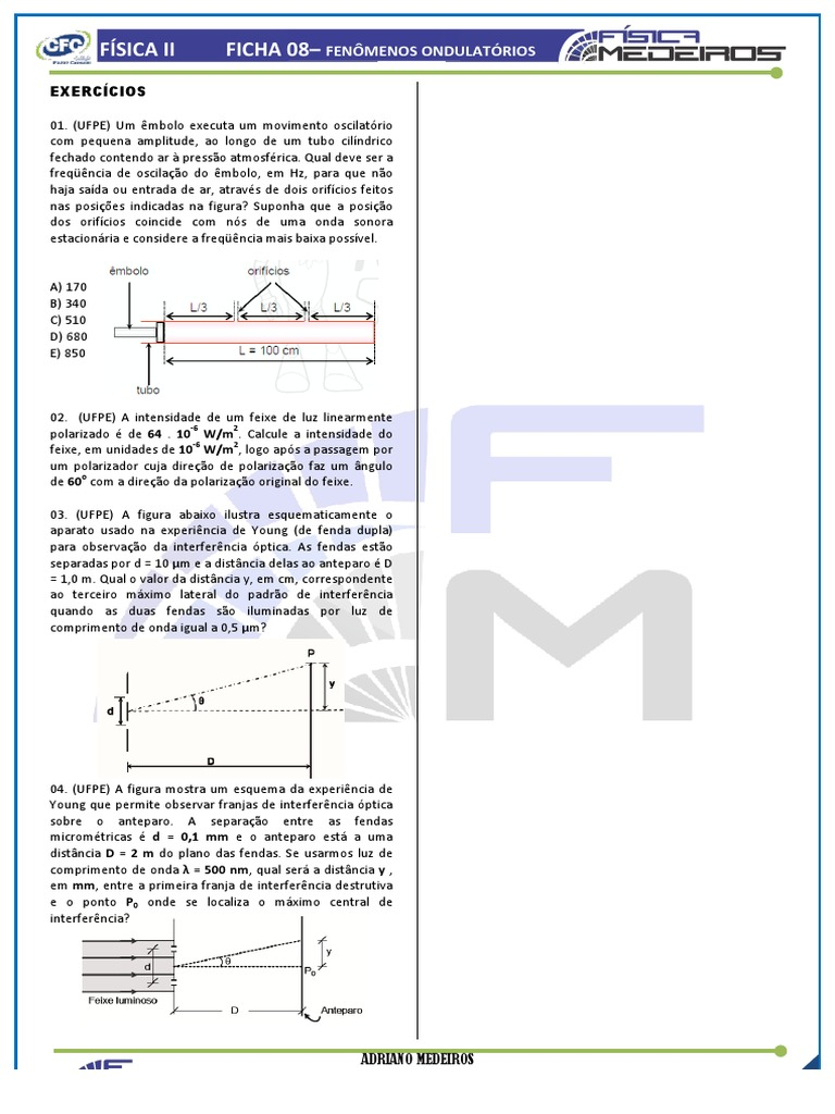 Ficha 08-fisII -3º ano 2014 - FENOÌ'MENOS ONDULATOÌ RIOS -EXERCIÌ CIOS e5765e028e