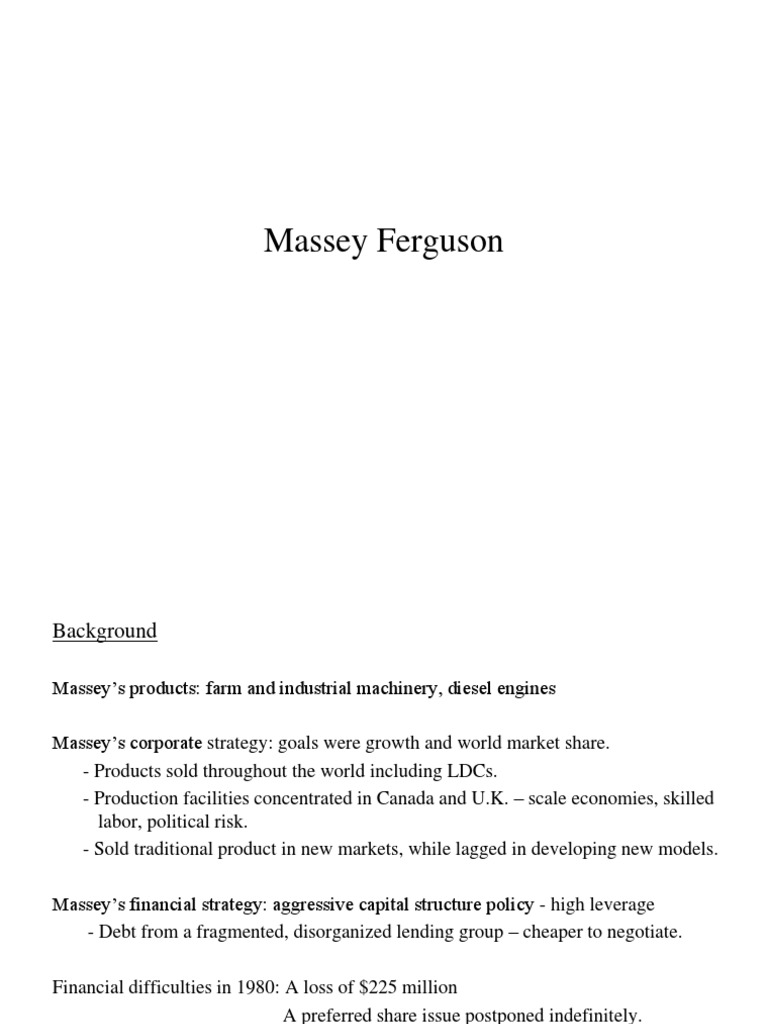 case analysis massey ferguson essay In 1980 massey was holding we will write a custom essay sample on case  analysis massey ferguson specifically for you for only $1638 $139/page.