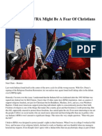 outrage over rfra might be a fear of christians