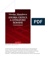 Nicolae Manolescu, mic studiu de critica