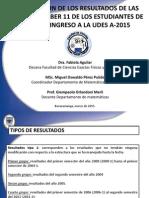 Evaluación de Los Resultados de Las Pruebas Saber a-2015