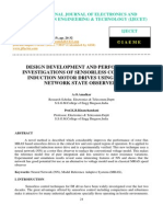 Design Development and Performance Investigations of Sensorless Control of Induction Motor Drives Using Neural Network State Observers
