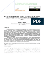 Selection of Retail Store in Kingdom of Saudi Arabia Using Analytic Hierarchy Process _ahp